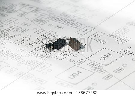 electronic components on placed electronic / electrical layout