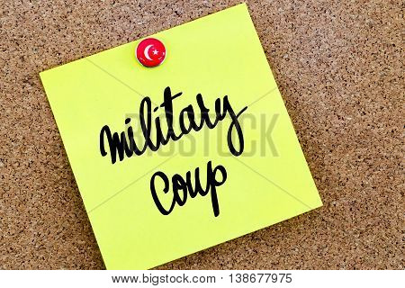 Written Text Military Coup Over Yellow Paper Note