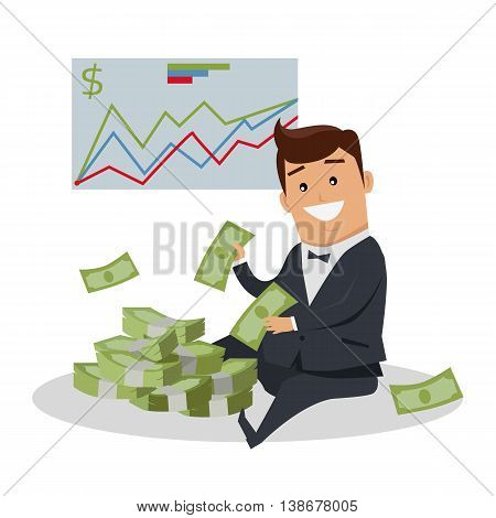 Business success illustration. Flat style design vector. Smiling man in business suit sitting near pile of dollar banknotes. Investment, wages, income, credit, savings, wealth concept.