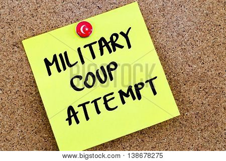 Written Text Military Coup Attempt Over Yellow Paper Note