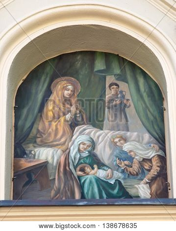 Mount St. Anna Poland - July 7 2016: The painting above the gate to the monastery and the Basilica of the Franciscan