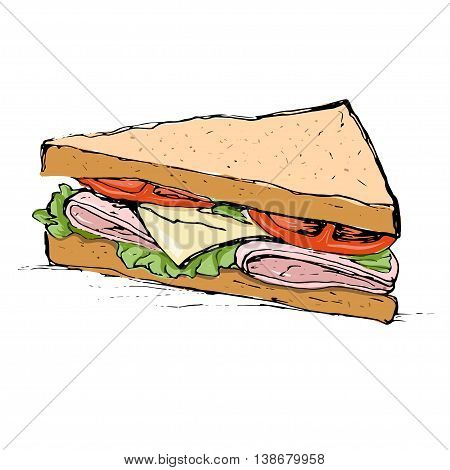 Ham, cheese, tomato and lettuce sandwich sketch style vector illustration isolated on white background. Draeing of appetizing sandwich with cheese, meet and vegetables