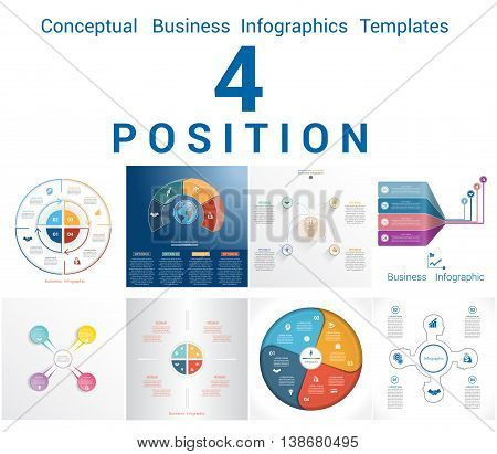Set Vector Templates Infographics Business Conceptual Cyclic Processes for Four Positions Text Area Possible to use for Workflow Banner Diagram Web Design Timeline Area Chart
