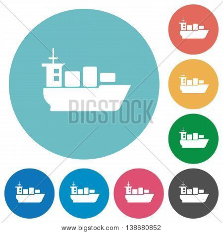 Flat sea transport icon set on round color background.