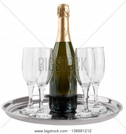 Champagne bottle and four champagne glasses on tray isolated on white background