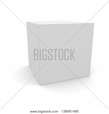 Blank box on white background with shadow. 3D illustration