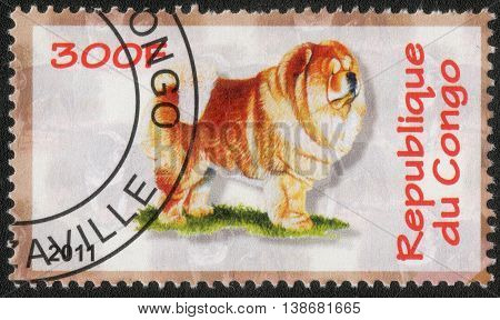 CONGO - CIRCA  2011: A post stamp printed in Congo shows a series of images Chow