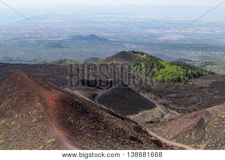 Aerial view from Mount Etna at Sicily island Italy