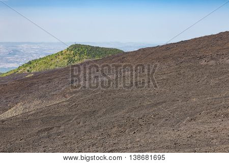 Bare of Mount Etna covered with ashes and stones Sicily Italy