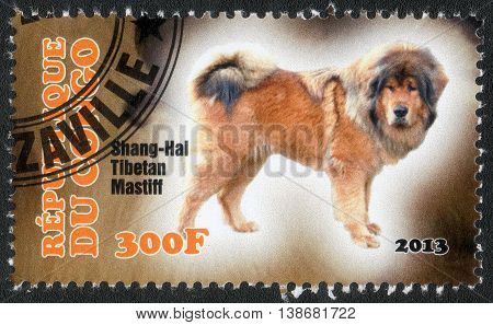 CONGO - CIRCA  2013: A post stamp printed in Congo shows a series of images Mastiff