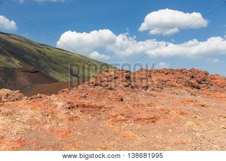 Colorful slopes of Mount Etna at the Island Sicily Italy
