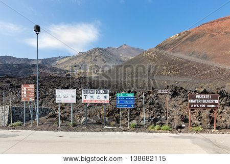 MOUNT ETNA ITALY - MAY 23: Notice boards on Mount Etna on May 23 2016 at the island Sicily Italy
