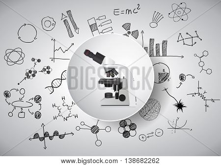 illustration of electronic microscope with chemistry formula