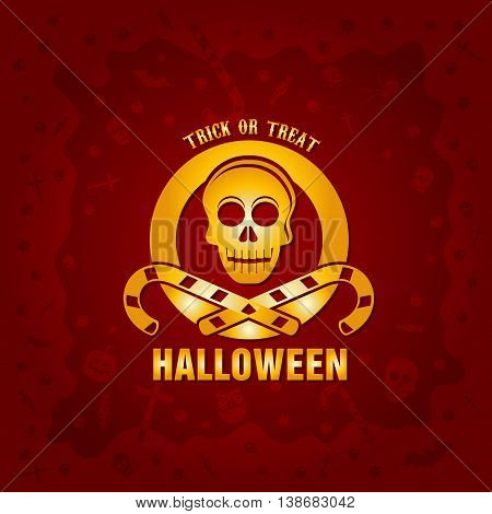 Beautiful Halloween background with golden skull and candies design and crosses, ghosts, zombies, coffins, bats and candies