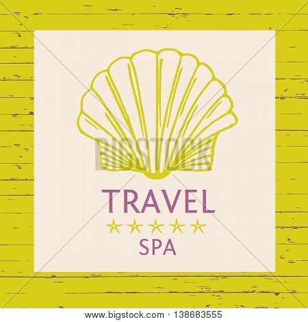 Design Logo Of Cruise Travel And Spa On Wood Background. Hand Dr