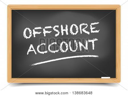 detailed illustration of a blackboard with Offshore Account, eps10 vector, gradient mesh included