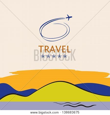 Design Logo Of Cruise Travel On Color Background. Hand Drawn Sil