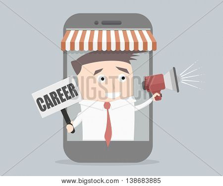 minimalistic illustration of a businessman coming out of a cell phone, holding loudspeaker and career sign, eps10 vector