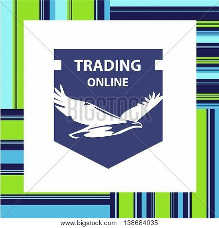 Vector Logo For Business Trading Online With White Eagle On Dark