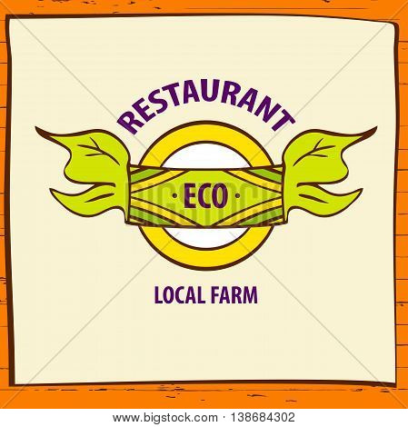 Vector Logo Local Farm Products. Hand Drawn Logotype And Wood Ba