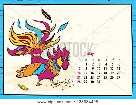 Calendar Of 2017 Chinese New Year Of The Rooster. Month May. Vec