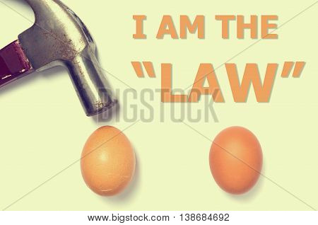 I am the law Hammer hitting and Egg