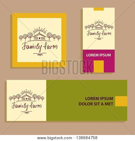 Family Eco Farm. Sketch Logo For Agriculture, Horticulture.hand