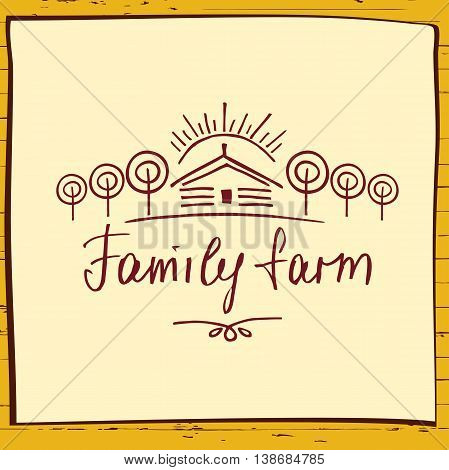 Family Eco Farm. Sketch Logo For Agriculture, Horticulture. Hand