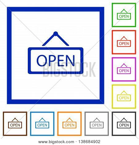 Set of color square framed Open sign flat icons