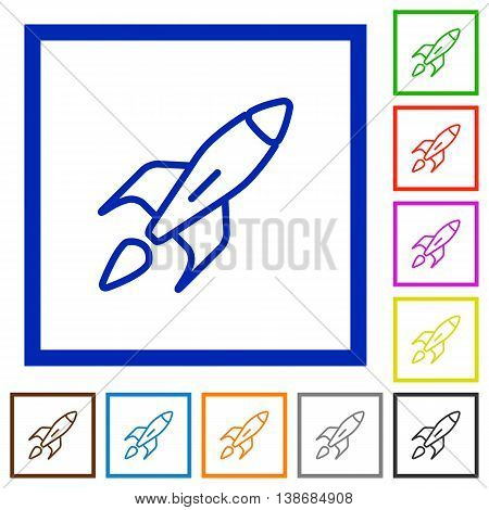 Set of color square framed Launched rocket flat icons
