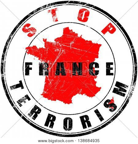 Round stamp with a message stop terrorism in France