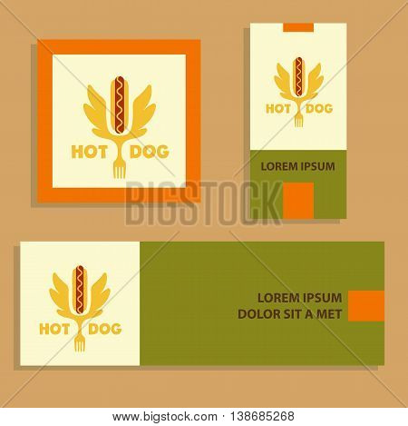 Hot Dog Logo. Vector Logotype For Fast Food.  Quick And Tasty. B