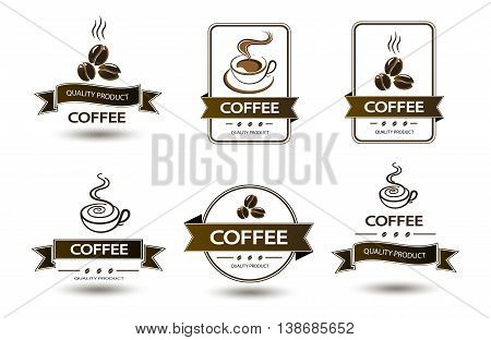 set of badges coffee cup drink on a white
