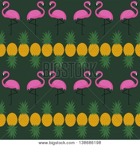 Pink flamingo seamless pattern with pineapples on dark green background. Summer vector background design for textile, web, fabric and decor.