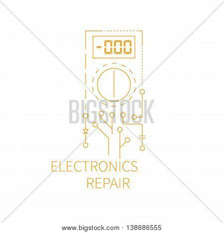 Electronics repair logo. Abstract multimeter conducting diagnostic chips. Vector illustration.