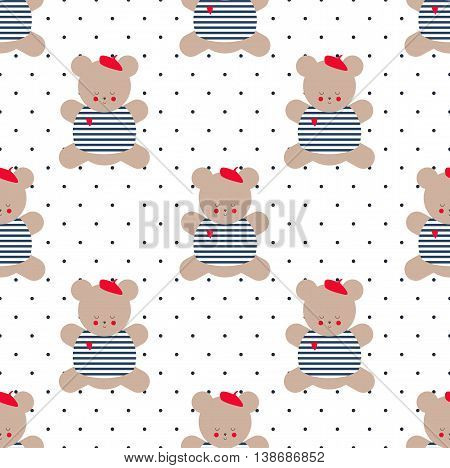 Teddy bear seamless pattern on polka dot background. Cute cartoon french style dressed teddy bear vector illustration. Baby shower background. Fashion design for textile, wallpaper, fabric, decor etc.