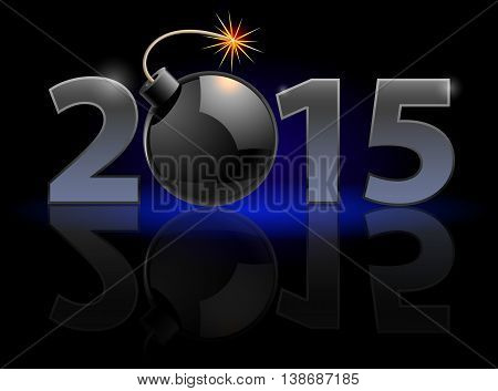 New Year 2015: metal numerals with bomb instead of zero having weak reflection. Illustration on black background.