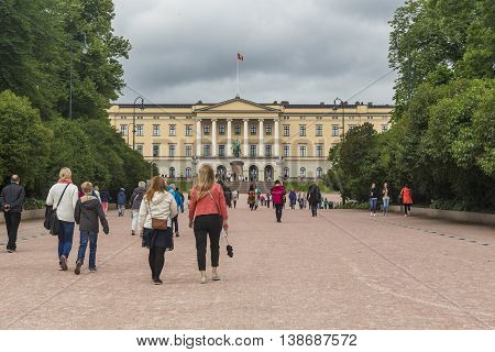 OSLO, NORWAY - JULY 1, 2016: This is part of Slottsparken park area in front of the Royal Palace.
