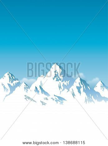 Placard width snow-capped mountains - vector background