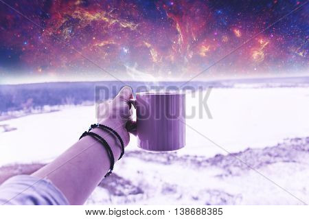 An atmospheric space winter picture, which can be used in different ways.