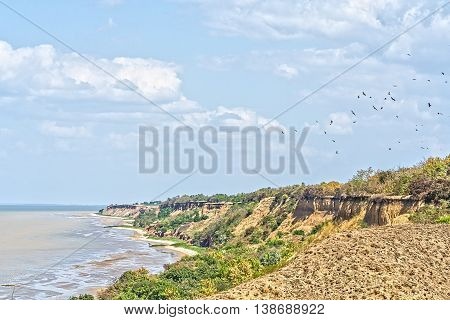 Scenic steep beach on a sunny summer day against the blue sky with white clouds
