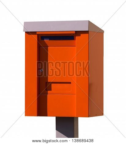 Orange post box. mailbox. isolated over the white background.