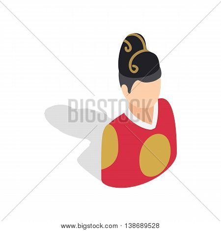 Korean man in national costume icon in isometric 3d style isolated on white background