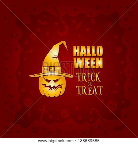 Beautiful Halloween background with golden pumpkin in witch hat design and skulls, crosses, ghosts, zombies, coffins, bats and candies