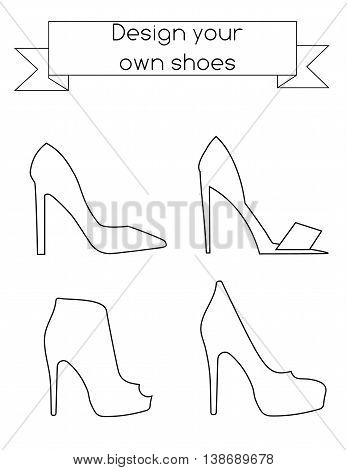 Coloring page for children and adults. Fashion magazine, kids activity sheet. Design your own shoes drawing game
