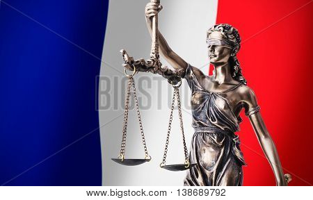 Themis with scale symbol of justice on French flag background composition