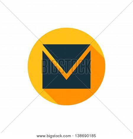 Vector illustration of envelope icon in yellow circle with long shadow