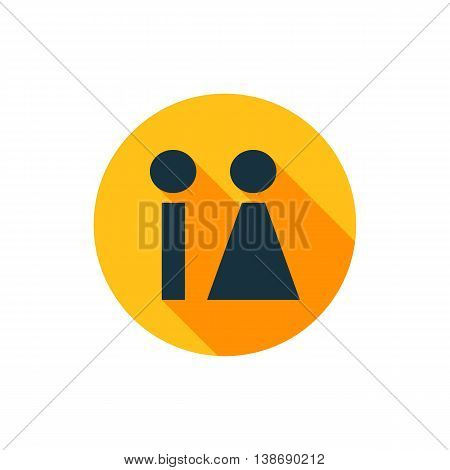 Vector illustration of restroom icon in yellow circle with long shadow