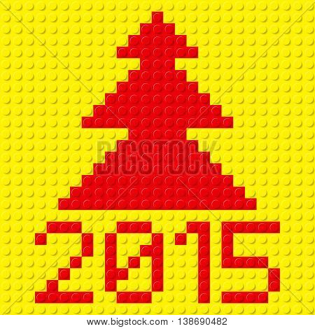 New Year red tree and 2015 in plastic construction kit texture on yellow