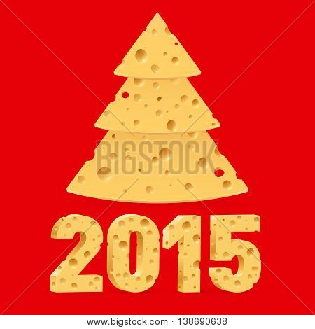 Cheese New Year tree and 2015 on red background.